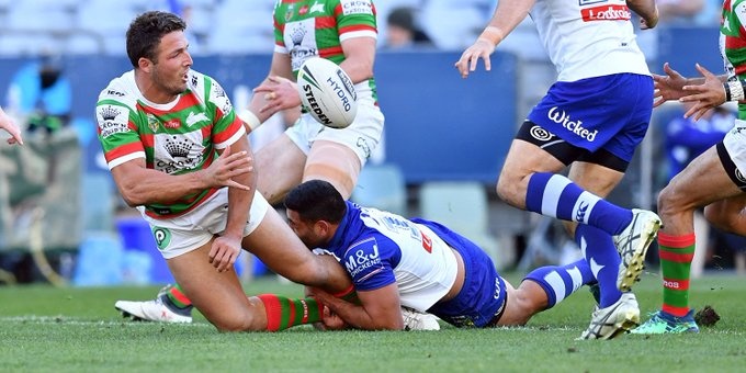 Sammy B and Seibs deliver the words of wisdom after the Dogs win. Log in and listen up 🗣️ #GoRabbitohs #NRLBulldogsSouths Photo