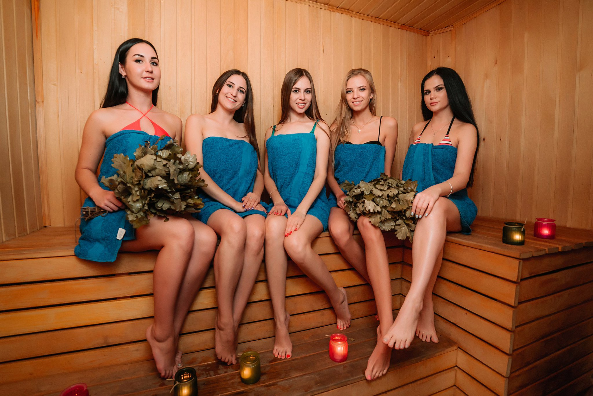 Young girls sauna