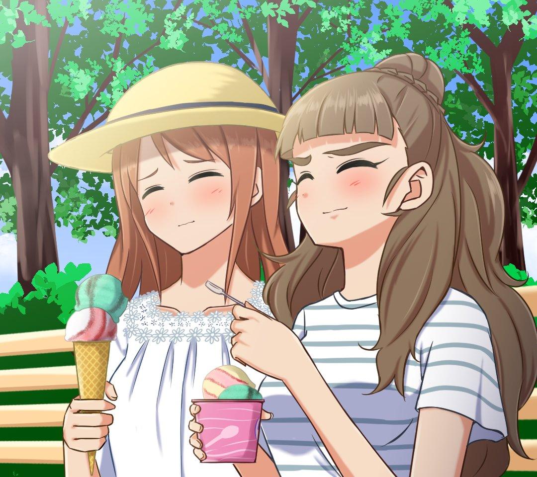 アイスを食べて涼む奈緒と加蓮