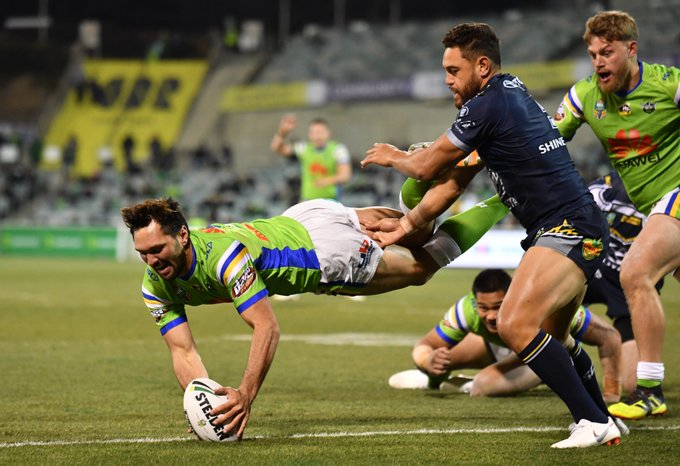 The Raiders took care of the Cowboys with a 38-12 victory at a freezing Canberra Stadium: #NRLRaidersCowboys (Pic: AAP) Photo