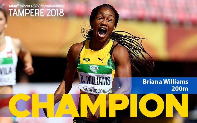 BRIANAAAAAA!! 🌪💨 ✅ World U20 Champion - 100m ✅ World U20 Champion - 200m 🆕 ✅ CR in the 200m 🆕 And still just 16 years young. 🎂 #IAAFworlds Foto