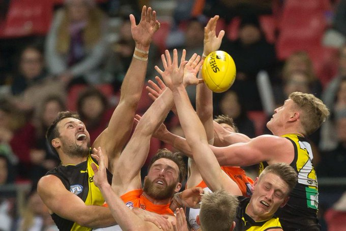 GWS Giants fight off #AFL premiers Richmond to win by just two points: #AFLGiantsTigers (Pic: AAP) Photo