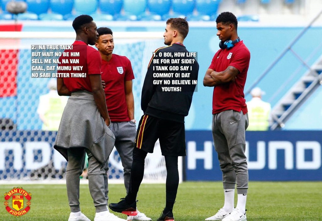 Our old and new United boys dey catch up with eachother. Rashford and Lingard dey use mind relate. #mufc #BELENG
