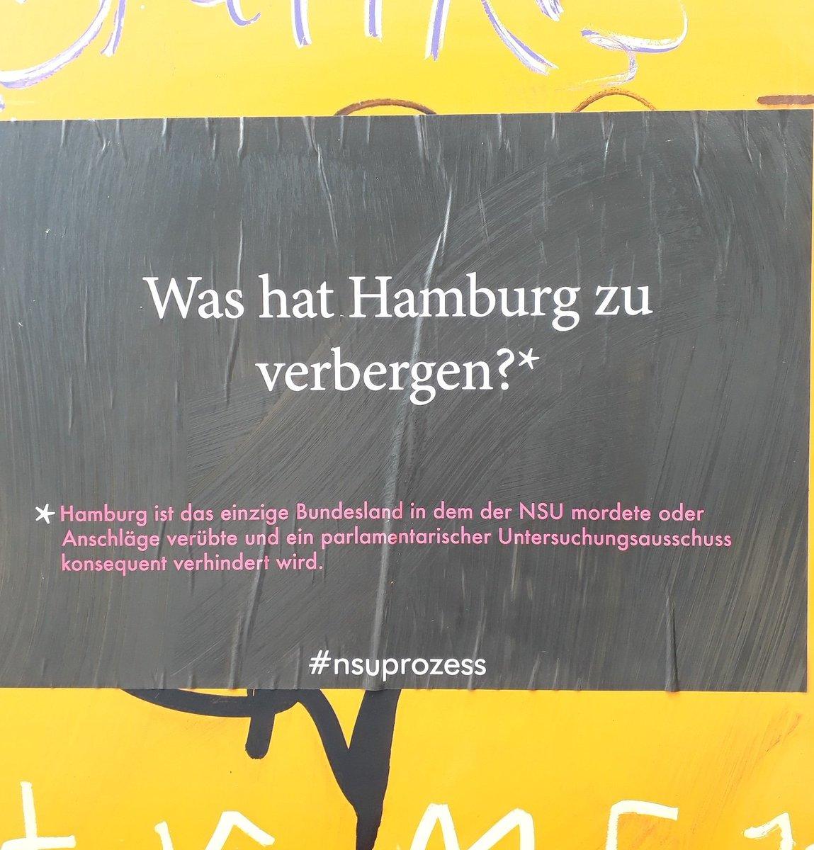 Was hat Hamburg zu verbergen?* Hamburg ist das einzige Bundesland in dem der NSU mordete oder Anschläge verübte und ein parlamentarischer Untersuchungsausschuss konsequent verhindert wird.