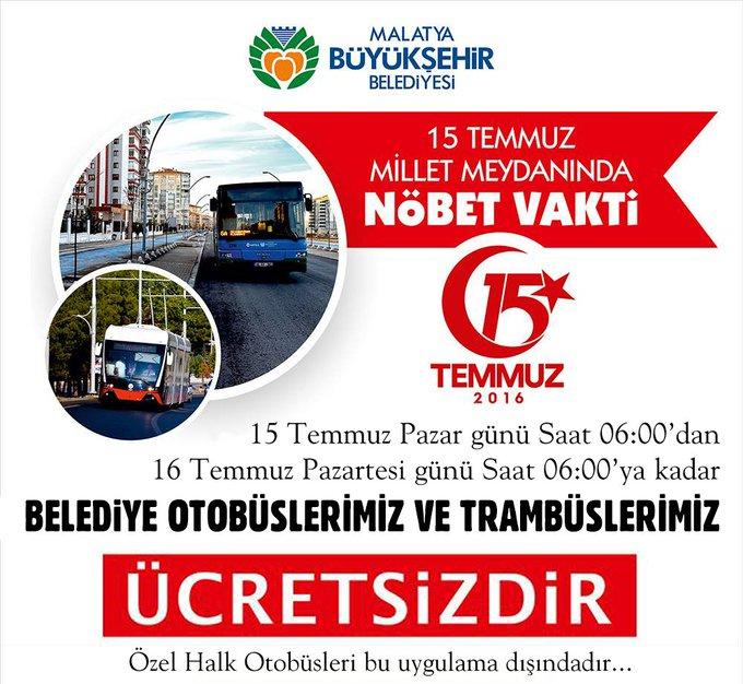15 Temmuz Pazar günü Saat 06:00'dan 16 Temmuz Pazartesi günü Saat 06:00'ya kadar Belediye Otobüslerimiz ve Trambüslerimiz ÜCRETSİZDİ (Özel Halk Otobüsleri bu uygulama dışındadır.) @haciugurpolat Photo