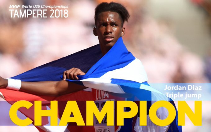 🥇 World U18 Champion 🥇 World U20 Champion - ❓ World Championships Past, present, and future looking golden bright 🤩 for Jordan Diaz 🇨🇺! #IAAFworlds Foto