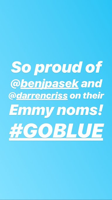 Emmy congrats from AJ Holmes via his Instagram Story Foto