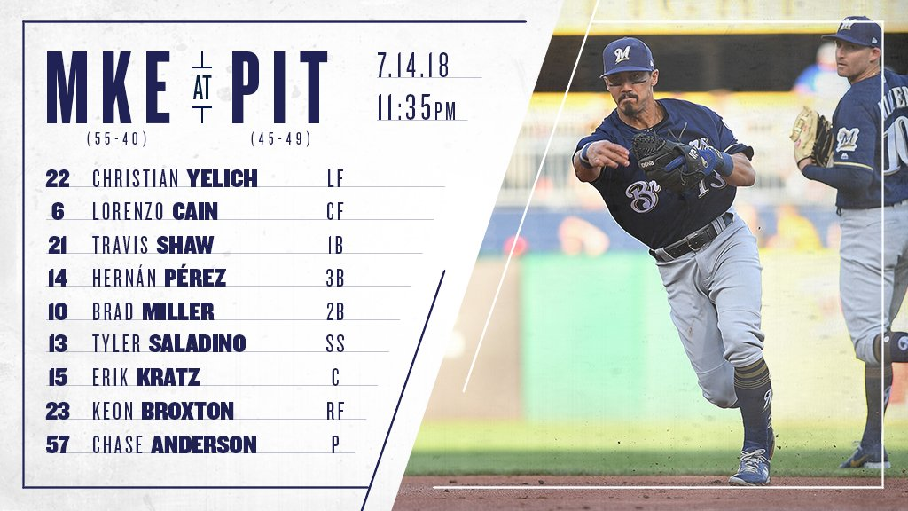 Here's the #Brewers lineup for game 1 of today's doubleheader against the Pirates. #ThisIsMyCrew https://t.co/KV0ysaeDqq