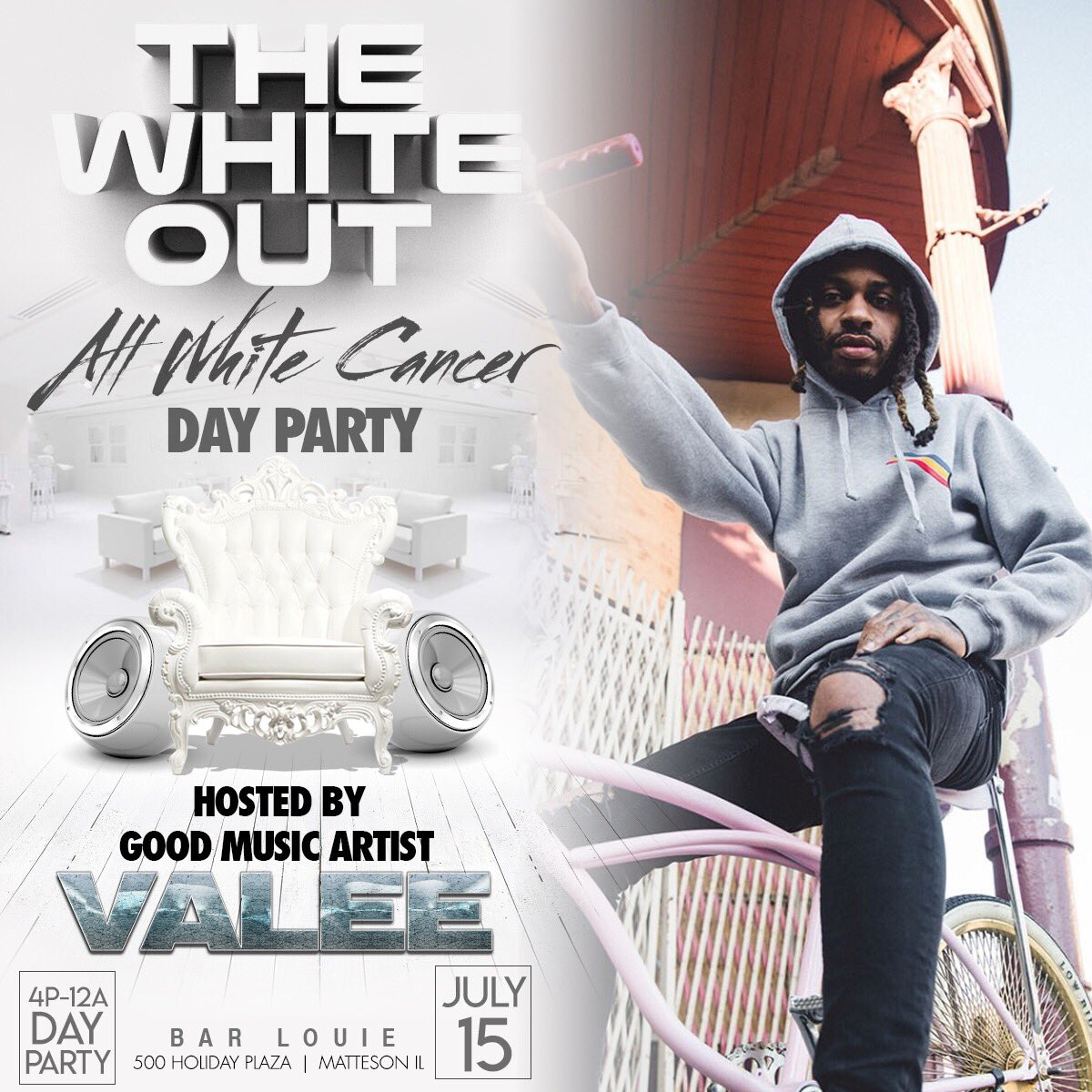 Hostin The White Out day party Sunday July 15th at Bar Louie in Matteson. Come thru 4p-12a