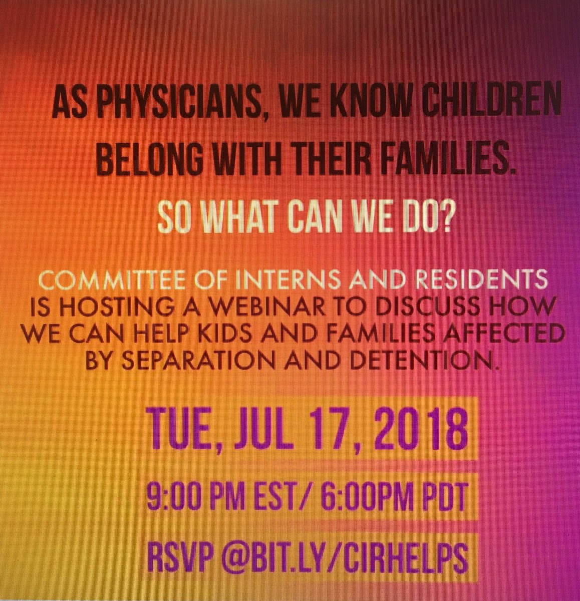 Upcoming webinar for physicians interested in learning how to help with separated kids and families @NHMAmd @NHMACOR @NHMACYP @EmergencyDocs @AAAP1985<br>http://pic.twitter.com/2hfQax4d8c