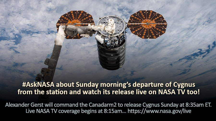 .@Astro_Alex will command the Canadarm2 to release the #Cygnus cargo craft Sunday at 8:35am ET. Live @NASA TV coverage begins at 8:15am. We'll also answer your #AskNASA questions. https://t.co/yuOTrYN8CV
