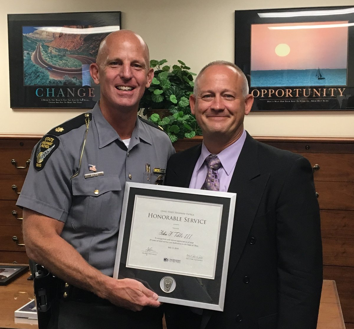 Congratulations Trooper Tibbs! Thank you for your 29 years of service to the Ohio State Highway Patrol and the citizens of Ohio. #keepingohiosafe