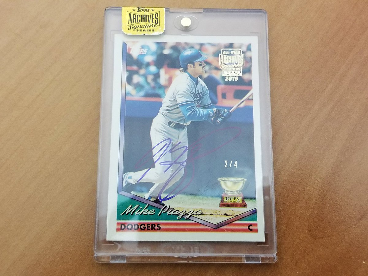 Only FOUR of these @mikepiazza31 beauties were ever made.     This one could be yours. RT for a chance. #MLBCards