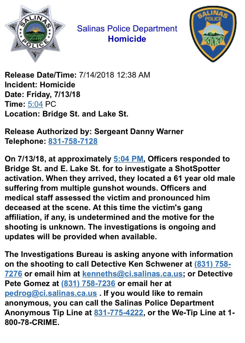 Salinas Police Dept  on Twitter:
