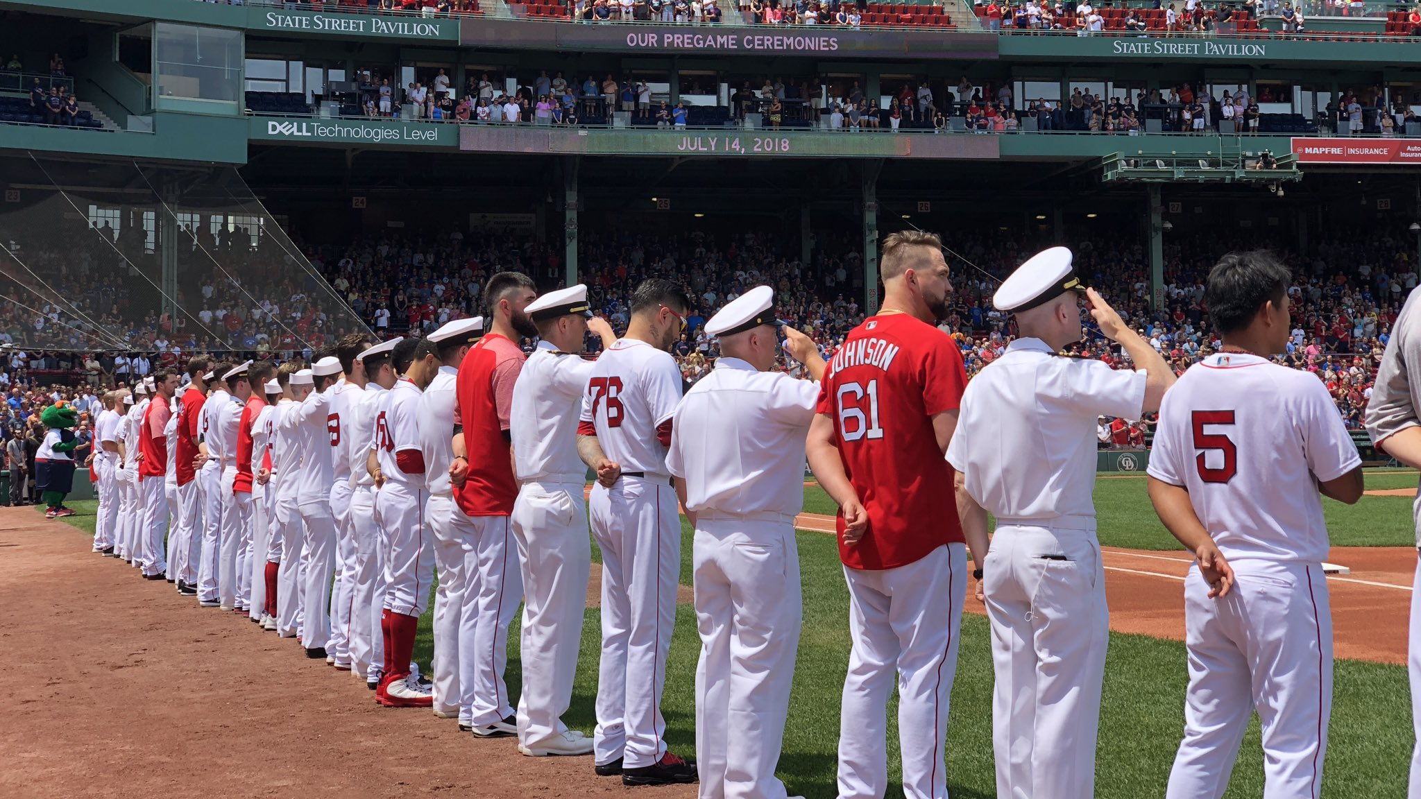 Joining us for the national anthem are the sailors from the crew of the U.S.S. Virginia! ���� https://t.co/rT8UwBAtVC