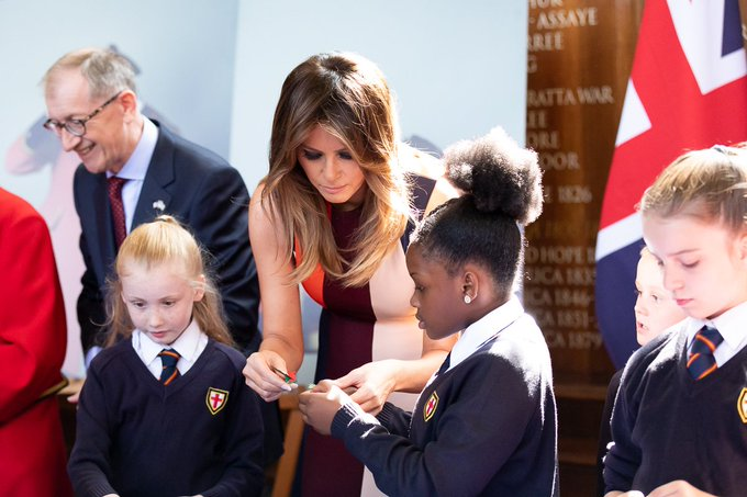 Yesterday, @FLOTUS visited the Royal Hospital Chelsea as well as accompanied @realDonaldTrump for tea with Her Majesty Queen Elizabeth II. Photo