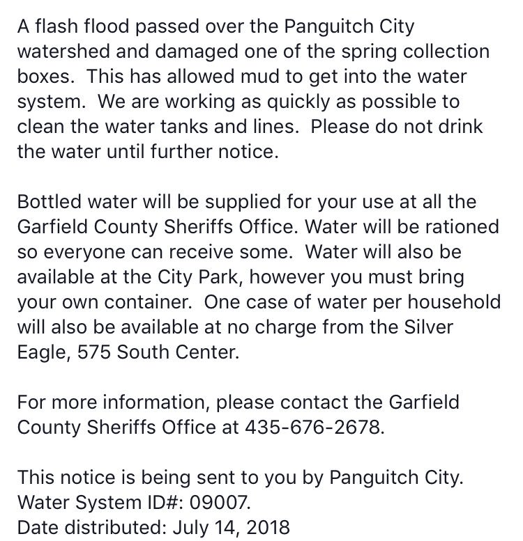 Utah Division Of Emergency Management Utah Dem On Twitter 2 6 More From Garfield County For Panguitch City Residents What Should I Do Do Not Drink The Water This Water Should Not Be