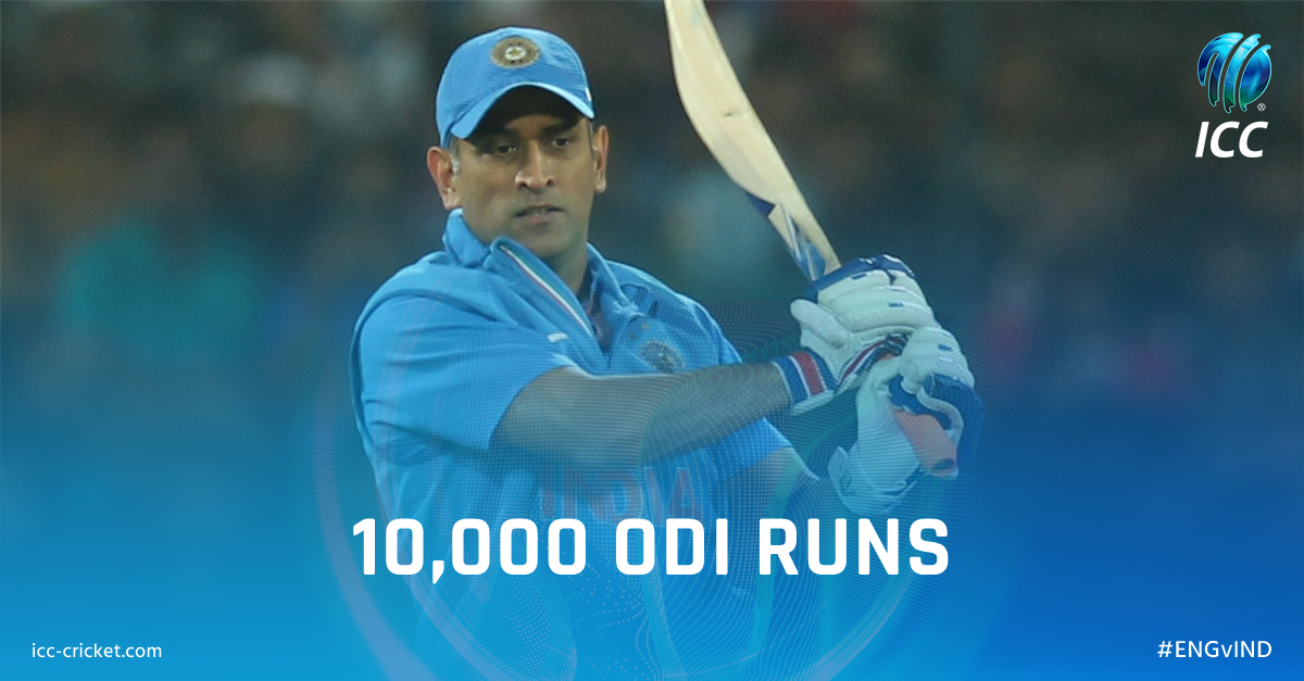 test Twitter Media - What an achievement, what a player. @msdhoni becomes the 12th player to score 10,000 runs in ODIs.    #ENGvIND https://t.co/3yJ3Ktaffk