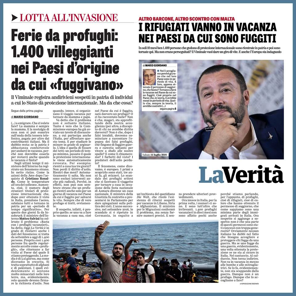 Adesso abbiamo anche i 'profughi vacanzieri'! Se io ti do protezione in Italia perché scappi dalla fame, dalla guerra e dalla pestilenza, è strana cosa che poi torni nel Paese da cui saresti in teoria fuggito, ci stai qualche mese e poi te ne ritorni bellamente in Italia!