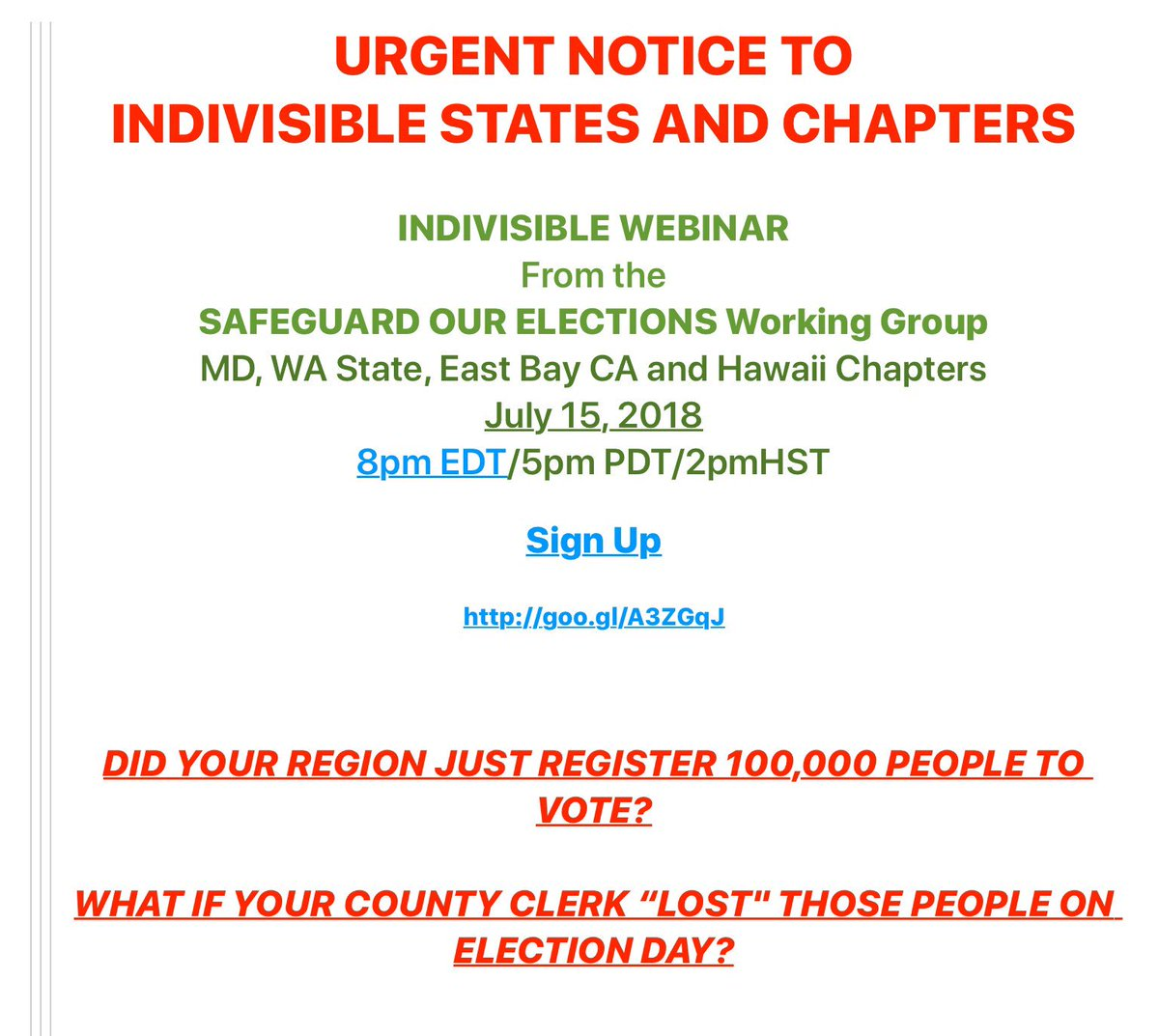We&#39;re so excited to be working with #Indivisible chapters in MD, HI, &amp; WA to bring you this event on Sunday —the webinar is just the beginning. We want to work w/at least one chapter in every state to FIX THIS so please stick around — near the end we&#39;ll start rolling out ACTIONS. <br>http://pic.twitter.com/1xdX2RLzth