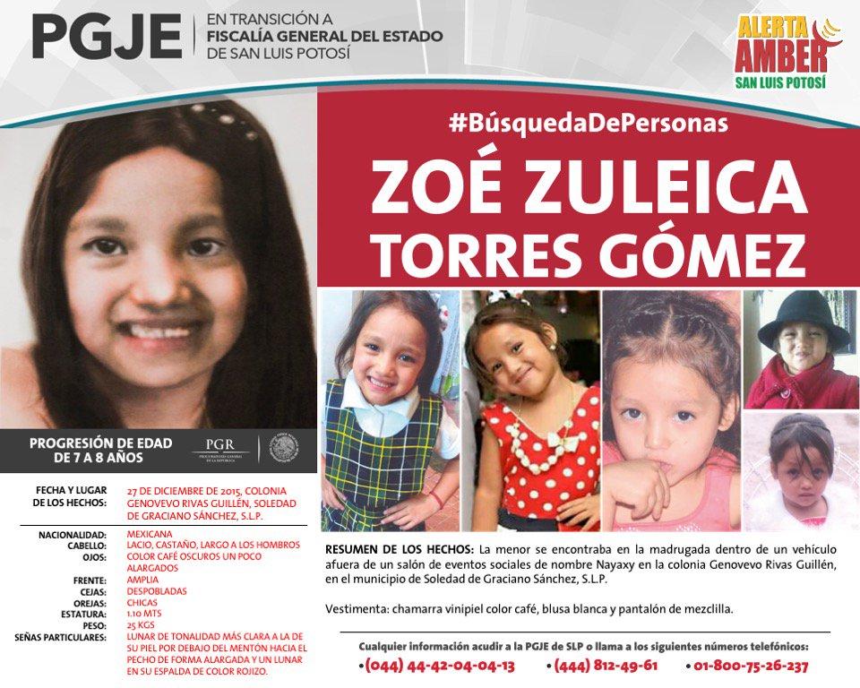 #AlertaÁMBER | Continúa la búsqueda para localizar a la niña Zoé Zuleica Torres Gómez. Si tienes alguna información sobre su paradero llama al: 01800-7526-237.