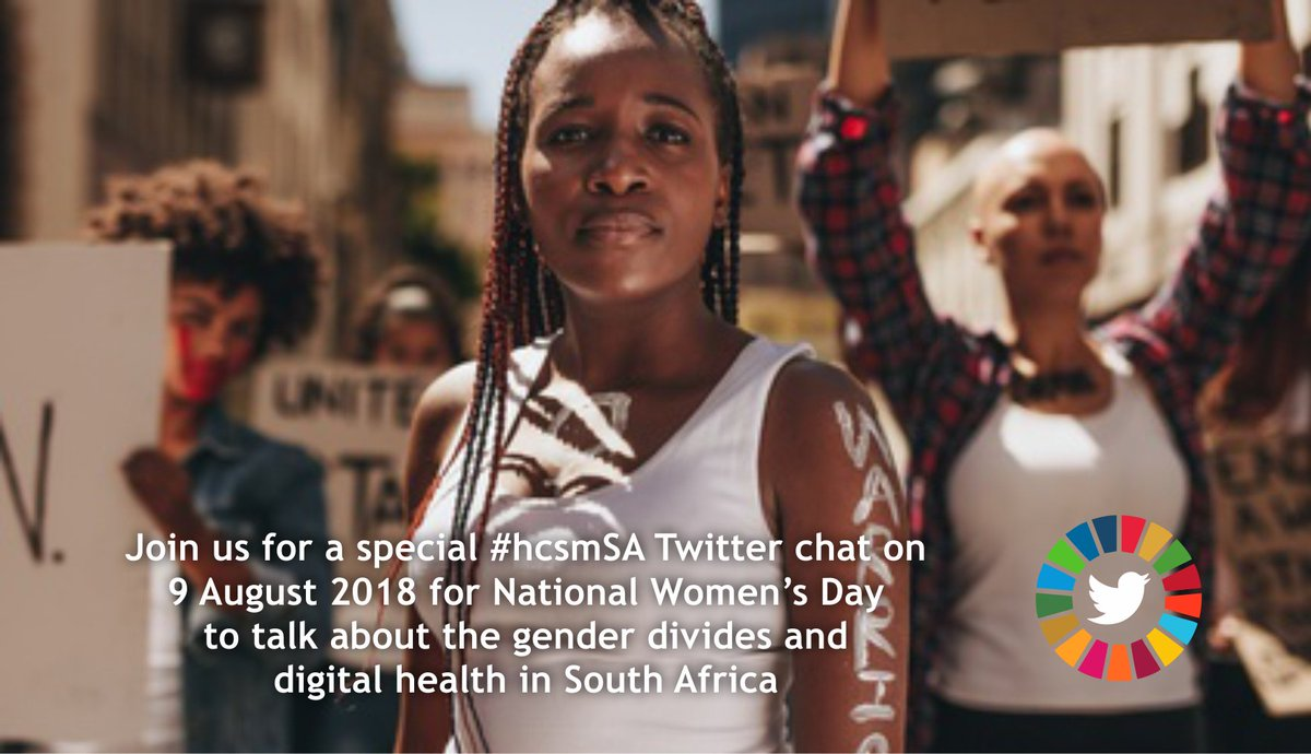 Join #hcsmSA for a special Twitter chat on National Women&#39;s Day 9 August 2018 at 20:30 SAST to discuss issues relating to the gender divides and digital health in South Africa. All stakeholders are welcome #NationalwomensDay #WomensDay #GenderEquality #SDG5 #SDG3 #SouthAfrica<br>http://pic.twitter.com/ccgW9JHprW