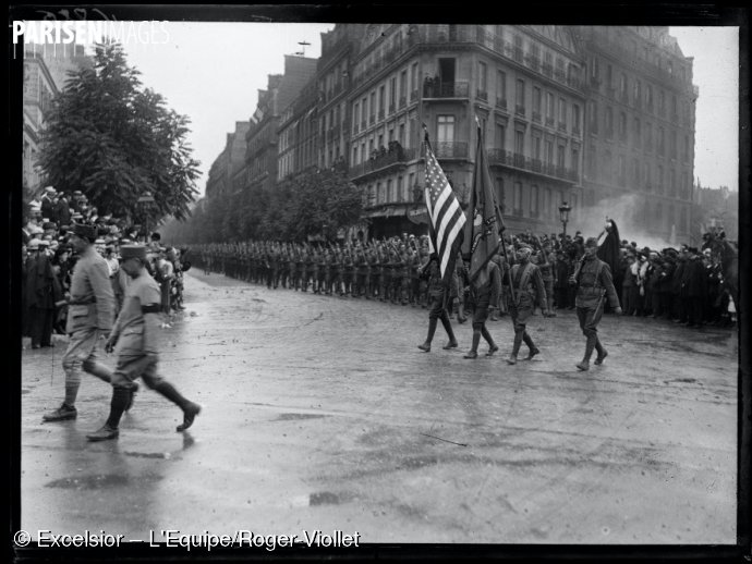 Jul 14, 1918 - American troops marching in Bastille Day Parade, in Paris, France #100yearsago