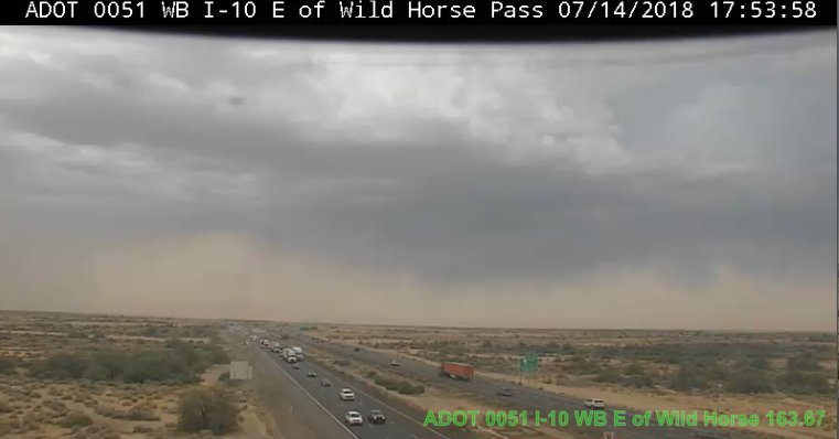 NOW: Dust is clearly visible from our traffic camera on I-10 and Wild Horse Pass. #azwx #PullAsideStayAlive