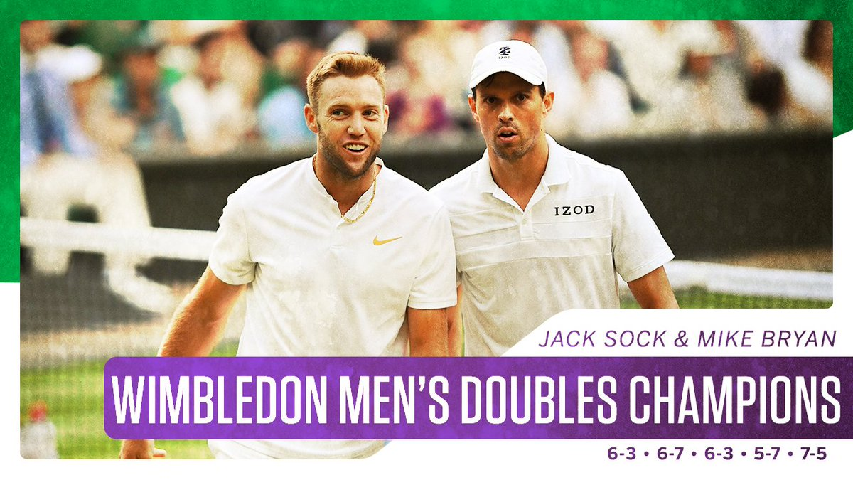Americans Jack Sock and Mike Bryan take the men's doubles title 🏆