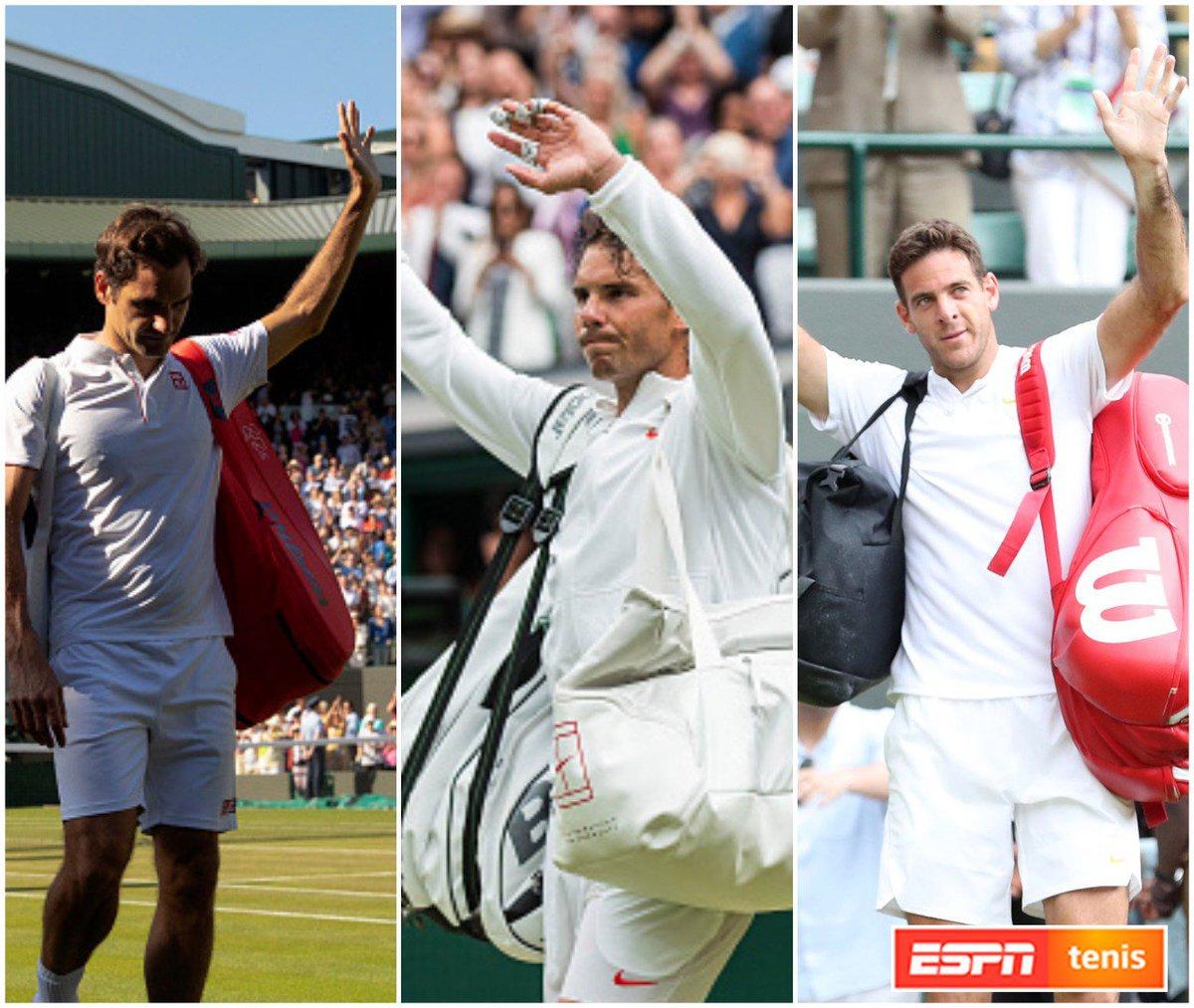 #WIMBLEDONxESPN A pesar de no alcanzar la final, Roger Federer, Rafael Nadal y Juan Martín Del Potro mostraron un alto nivel de tenis y deleitaron al público inglés en La Catedral. ¡Definí a los tres con una sola palabra! 🔝🔥