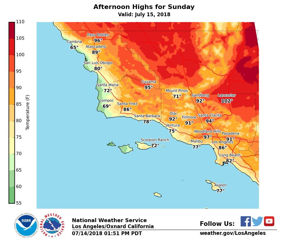 Another warm day expected on Sunday across interior sections with highs well into the 90s across the valleys and triple digit reading in the Antelope Valley. #LAheat #LAWeather #cawx