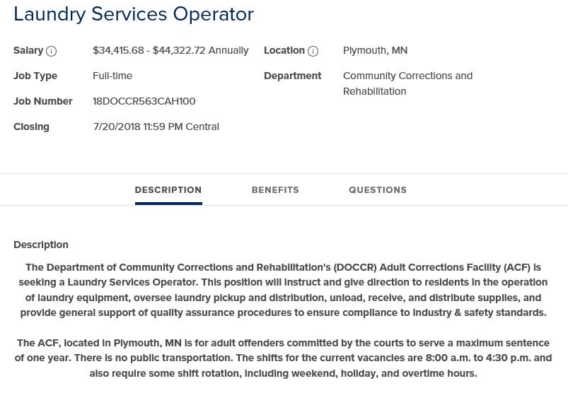 #nowhiring: Laundry Services Operator for Adult Correctional Facility in  @PlymouthMN. APPLY: http://bit.ly/2JlITn0 pic.twitter.com/h0p83uP6Se