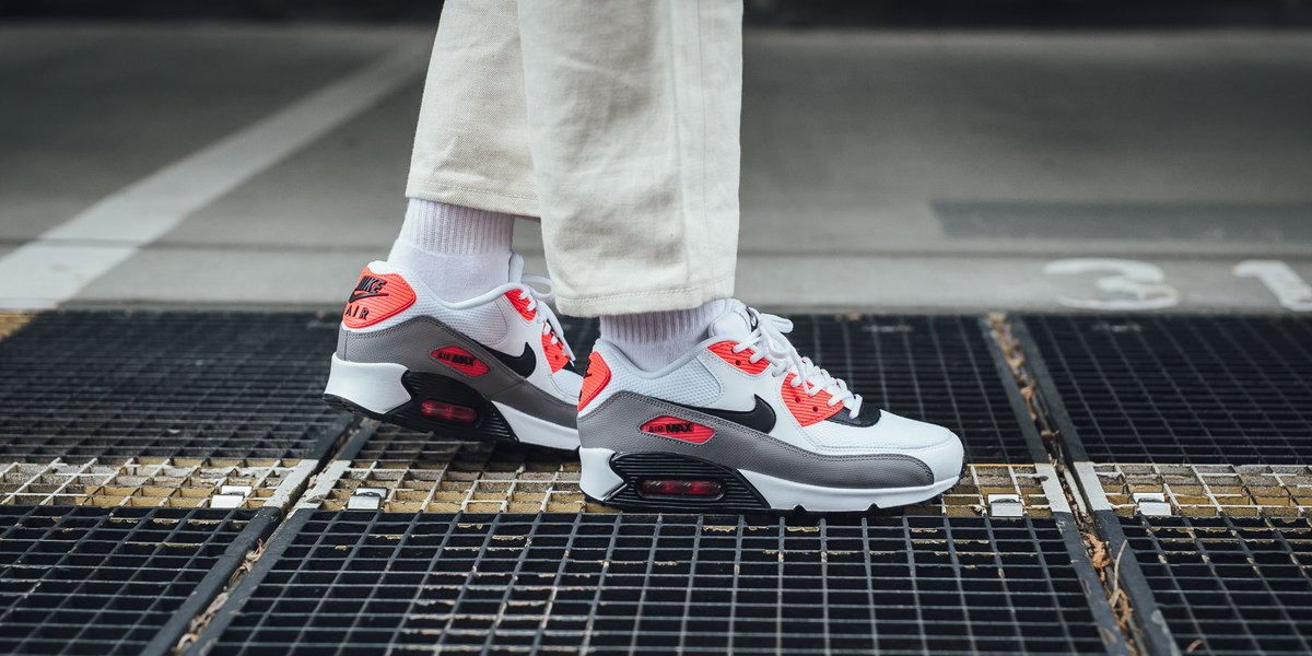 Low Price Nike Wmns Air Max 90 Womens White Black Dust Solar Red
