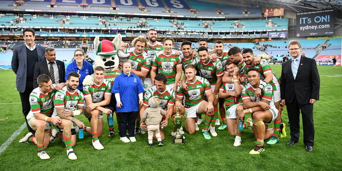 Nine on the spin and a new 🏆 to take home! See the best images as the Rabbitohs beat the Bulldogs to lift the @SOAustralia Cup 🙌 ❤️💚 📸 #GoRabbitohs #NRLBulldogsSouths Photo