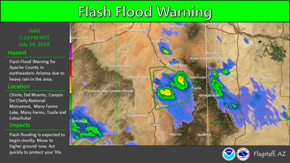 Nws Flagstaff Ar Twitter Strong Thunderstorms East Of Chinle And Many Farms Is Causing Heavy Rain In The Area The National Weather Service In Flagstaff Has Issued A Flash Flood Warning For