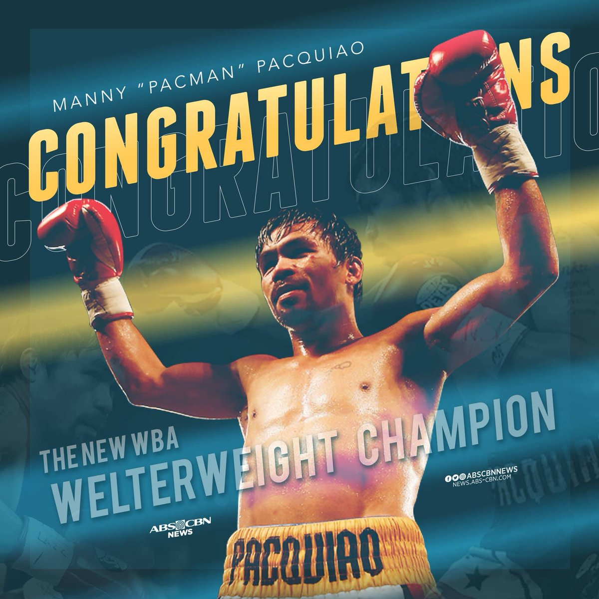 Congratulations, Manny Pacquiao!  The new World Boxing Association welterweight champion! #PacquiaoMatthysse
