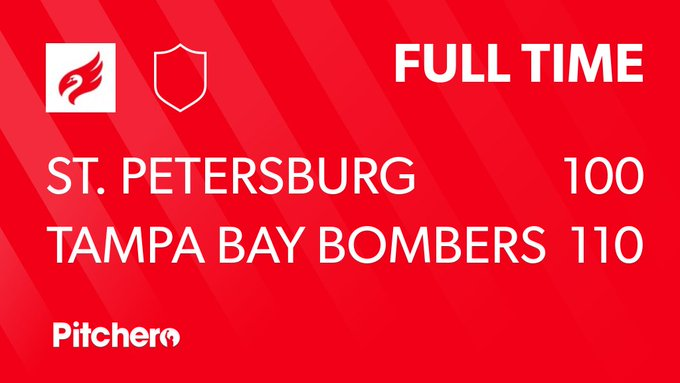 FULL TIME: St. Petersburg Swans 100 - 110 Tampa Bay Bombers #STPTAM #Pitchero Photo