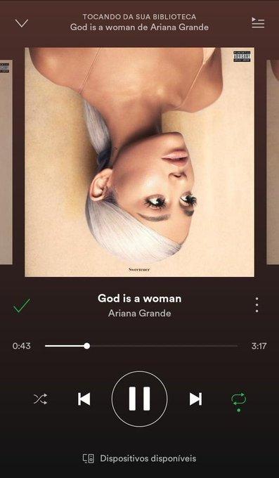 Meu que música é #GodIsAWoman #ArianaGrande @ArianaGrande Photo
