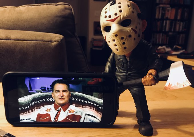 Thanks @shudder and @therealjoebob for bringing us #TheLastDriveIn on this #Fridaythe13th. It was great to see you for one more marathon. Cheers! Photo