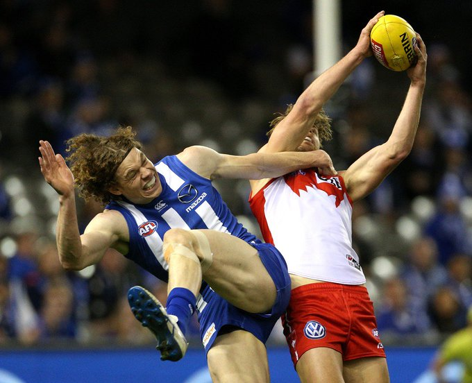 Ripping game, but a few casualties, including the Swans skipper. HT: @sydneyswans (51) - @NMFCOfficial (38): #AFLNorthSwans Photo