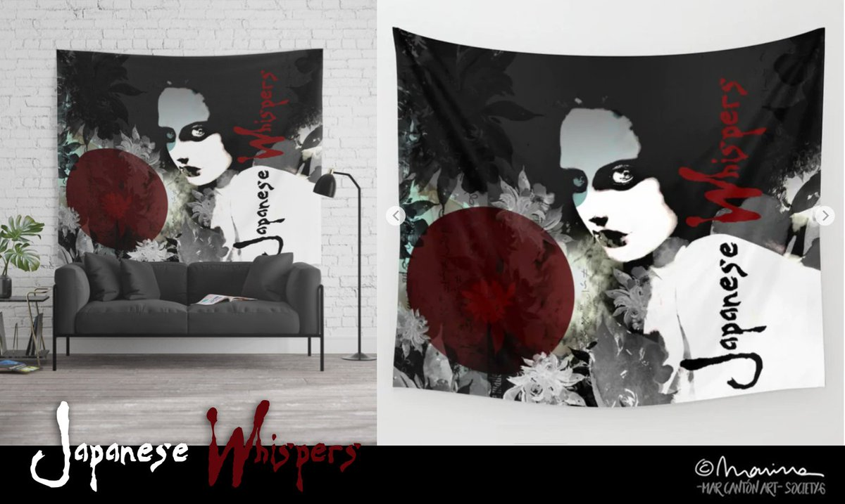 NEW! &quot;Japanese Whispers&quot; #marcanton #blackandwhite #thecure #japanese #whispers #80s #japan #woman #makeup #fashion #floral #botanical #oriental #dark #gothic #red #moderndesign #risingsun #wallart #tapestry @MyXtraTalent @Society6_ @Society6max @society6   https:// society6.com/product/japane se-whispers1414240_tapestry?curator=marcanton &nbsp; … <br>http://pic.twitter.com/IvHYldffW0