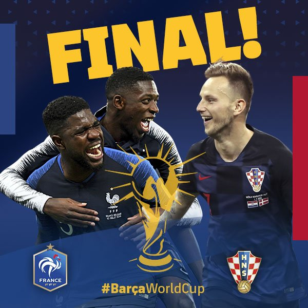 🌍 #WorldCup final day! 🇫🇷 🆚 🇭🇷 ⏰ 5pm CET 💪 Good luck to @samumtiti, @Dembouz and @ivanrakitic! ⚽️ Whats your prediction? 🔵🔴 #BarçaWorldCup