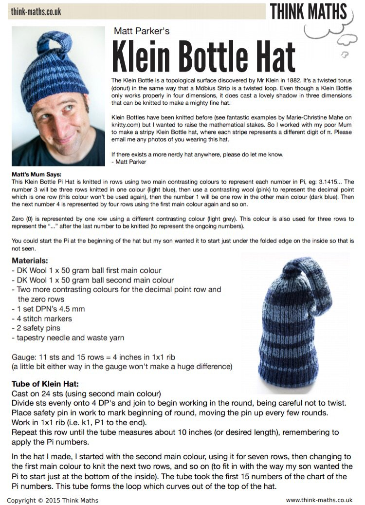 Here is the knitting pattern   https   www.dropbox.com s 42b2gete2rfs8s4 Think%20Maths%20-%20Klein%20Bottle%20Hat.pdf dl 0  …pic.twitter.com uHDeBHbaUF 3ba554a4d0a