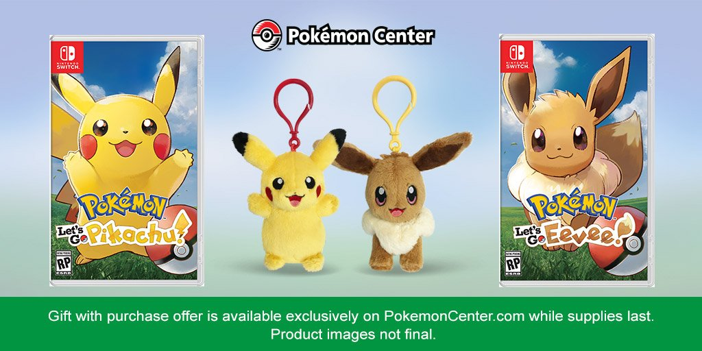 Let's go to the #PokemonCenter! US Trainers, if you preorder #PokemonLetsGo, Pikachu! from PokemonCenter.com, you will receive a Pikachu plush key chain—or an Eevee plush key chain if you preorder #PokemonLetsGo, Eevee! bit.ly/2zu6UIQ