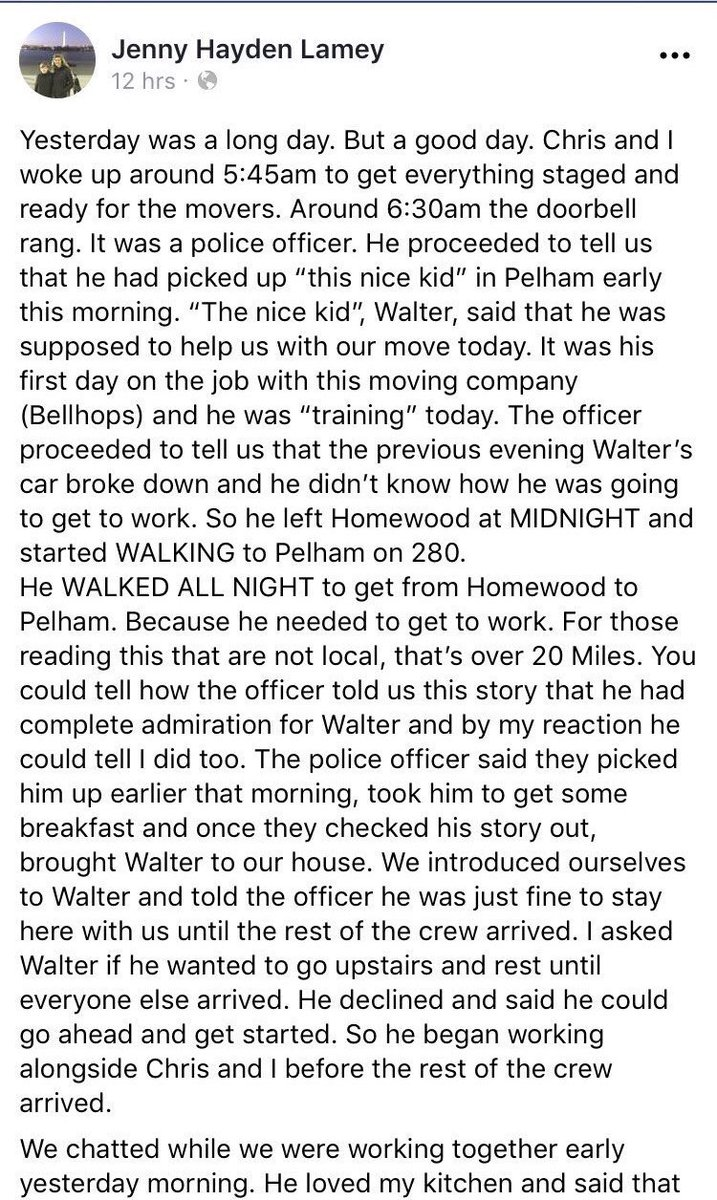 This deserves 1000 retweets! Read this amazing story about Walter, a new bellhop in Birmingham.   Major shoutout to the @PelhamPoliceAL officer who lended a helping hand.