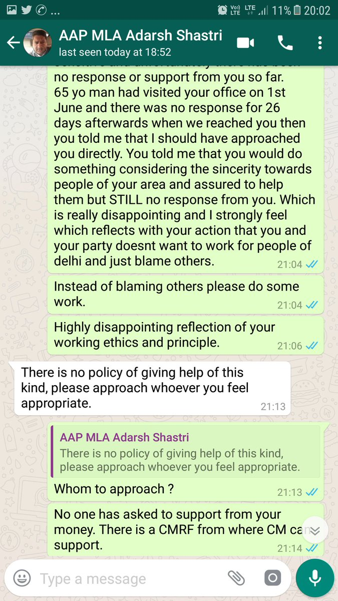 This is an arrogance of @ArvindKejriwal MLA @adarshshastri who is making 65yo man running around his office since 2 months for his son fighting #Cancer. When asked him to support he says to approach whomsoever I want to as he won&#39;t support. Such a disgrace to people of delhi. <br>http://pic.twitter.com/BVFmKSd3Dw
