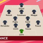 Final look at the starting XIs for #FRA & #CRO.Just 15 minutes until the #WorldCupFinal kicks off!📺 @BBCOne 📻 @5liveSport 📱 https://t.co/Fa3gDCSBx5