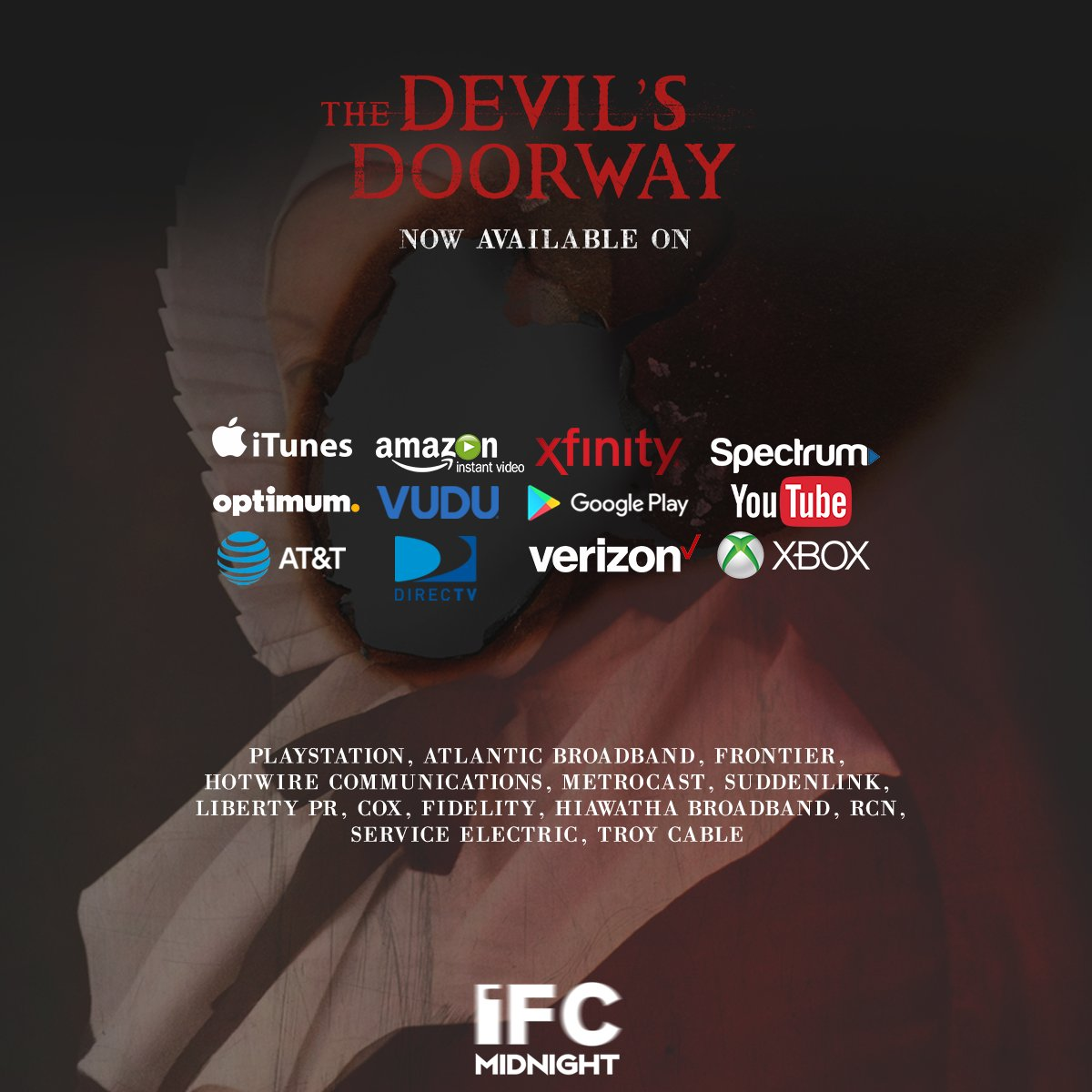 THE DEVIL'S DOORWAY is available on all thse VOD outlets now!