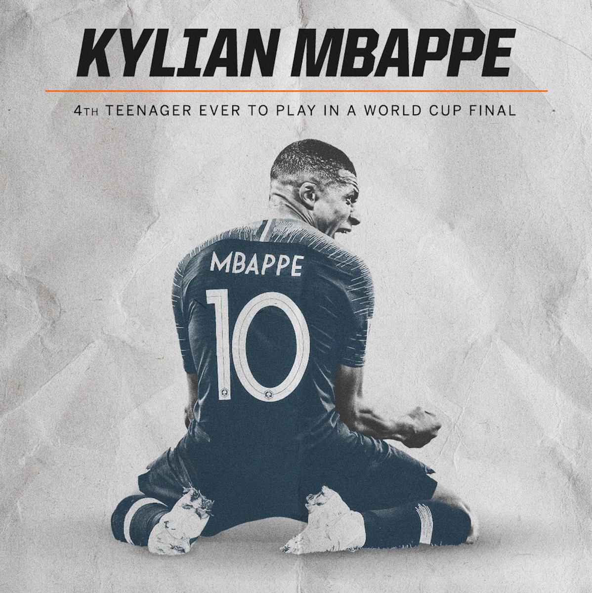 1950 🇺🇾 Ruben Morán (19) 1958 🇧🇷 Pelé (17) 1982 🇮🇹 Giuseppe Bergomi (18) 2018 🇫🇷 Kylian Mbappé (19) Kylian Mbappé becomes only the fourth teenager to play in a #WorldCupFinal