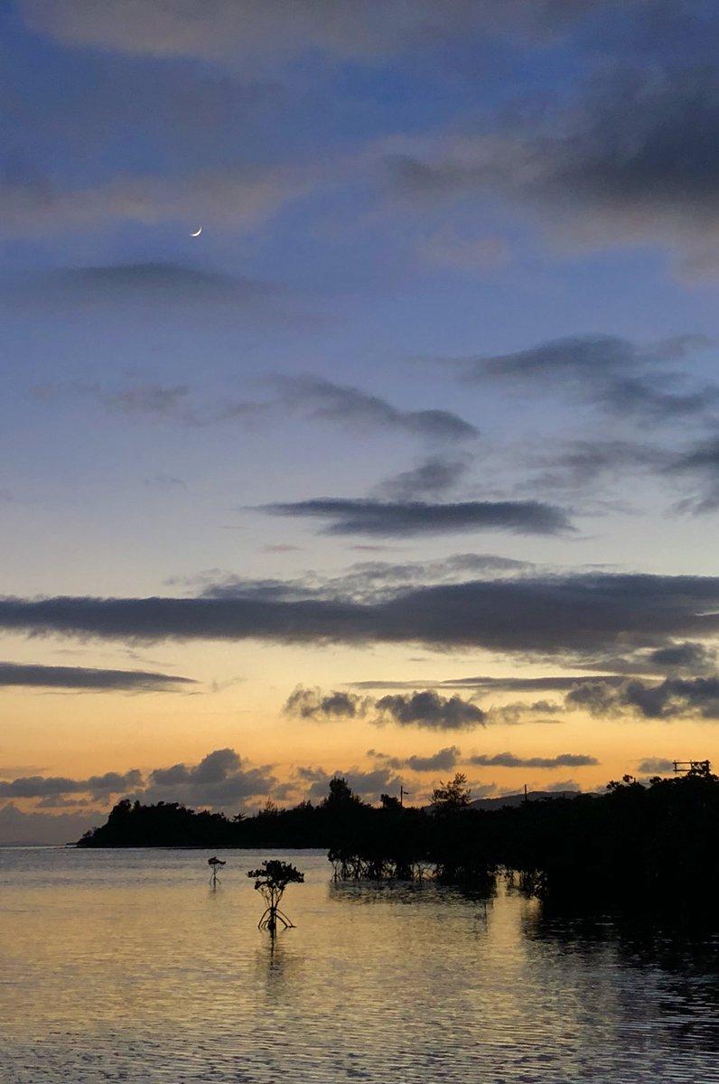 空をご覧ください。西空低く三日月が出ています。 (今iPhoneにて撮影。石垣島にて)